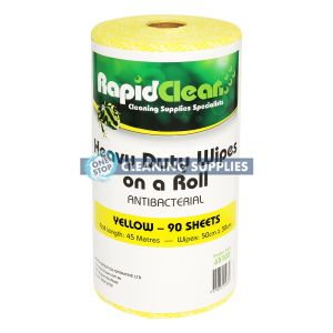 RapidClean Heavy Duty Wipes (Antibacterial) - 90 wipes - 30 x 50cm in Yellow - 65103